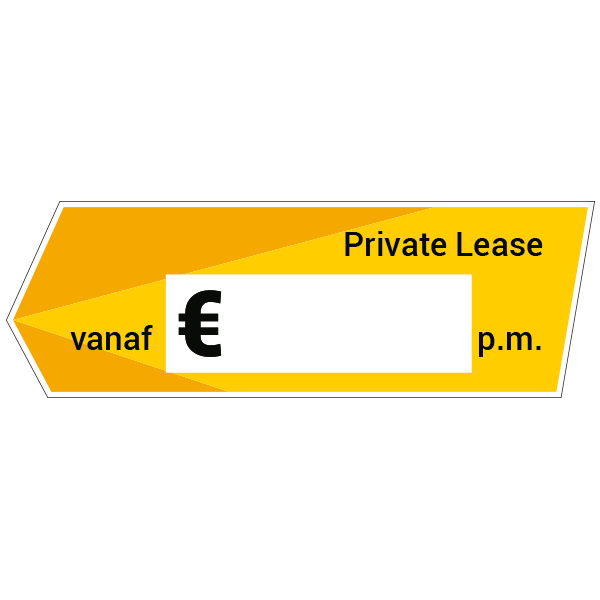Private lease vanaf - label sticker autodealerstickers - geel